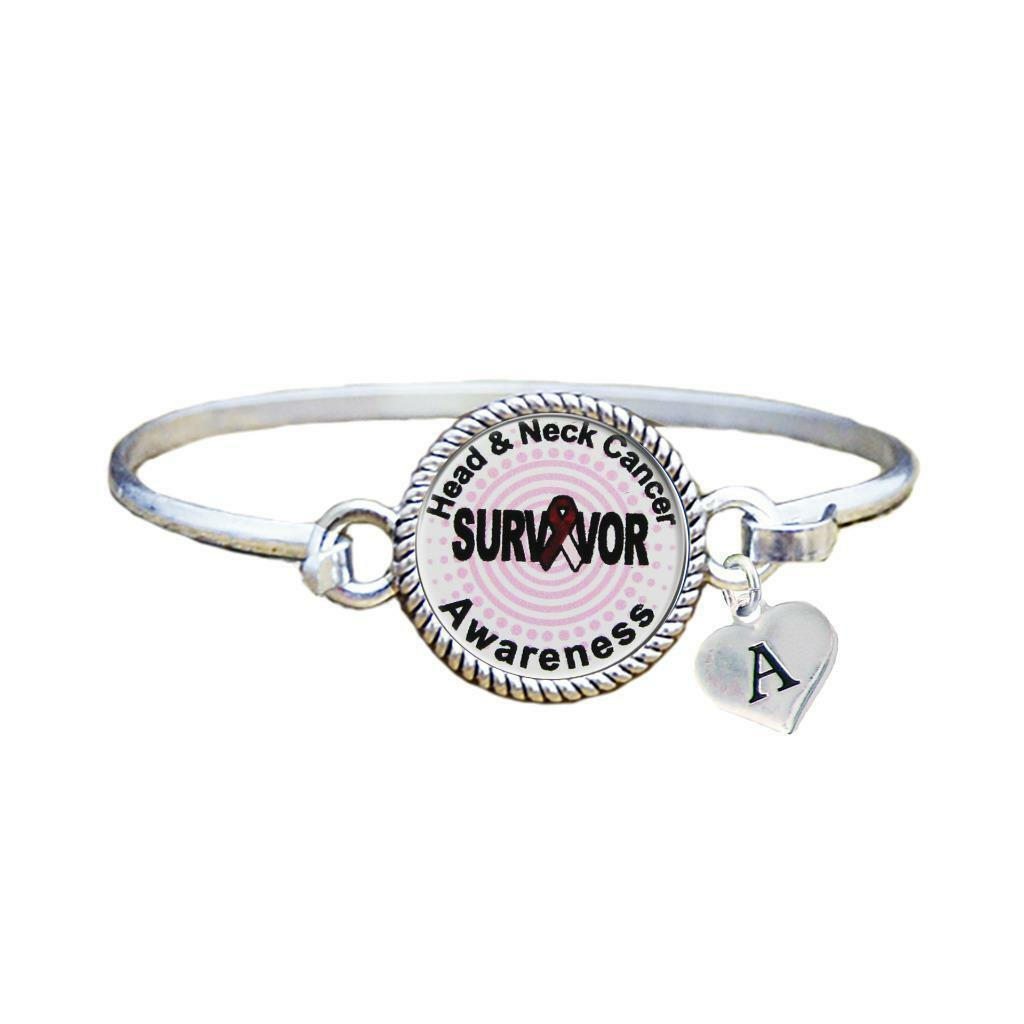 Primary image for Custom Head and Neck Cancer Survivor Silver Bracelet Jewelry Choose Initial