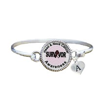 Custom Head and Neck Cancer Survivor Silver Bracelet Jewelry Choose Initial - $13.80+