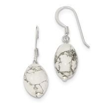 .925 Sterling Silver Genuine White Howlite Dangle Earrings - $10.59