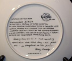 "1984 ""Open Wide"" Betsy Bradley Plate with Box ( Knowles ) AA20- CP2174 Vintage image 4"