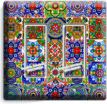 MEXICAN TALAVERA TILES DESIGN 2 GFCI LIGHT SWITCH PLATES KITCHEN ROOM HO... - $12.99