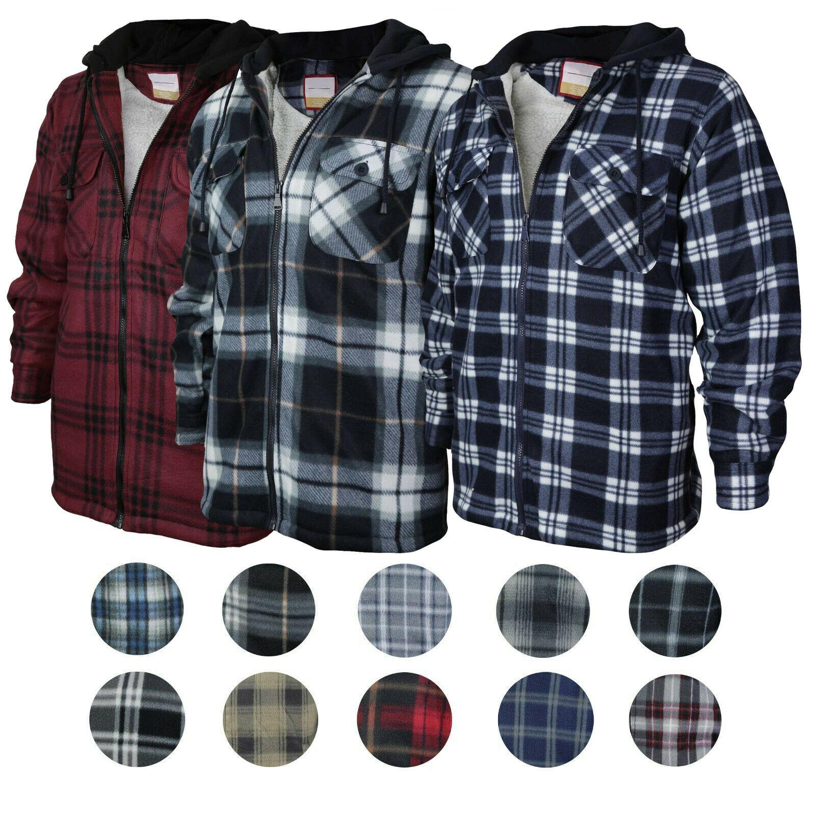Men's Heavyweight Flannel Zip Up Fleece Lined Plaid Sherpa Hoodie Jacket