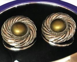 VTG 80s Swirl Medallion Olive-Bronze Centers/Silvertone Round Clip On Earrings image 1
