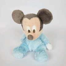 """Disney Parks 9"""" Baby Mickey Mouse Rattle Blue Fuzzy Stuffed Plush #t5 - $9.80"""