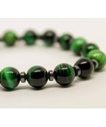 Green Tiger eye Bracelet Hematite Cross bracelet Mens Bracelet Bracelet ... - $27.00