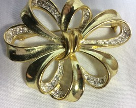 Women Gold Tone Brooch Bow Shape With Crystals, 2 in x 2 in. - $6.50