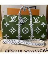 Louis Vuitton Giant Keepall 50 M44590 Travel Bag Hand Shoulder Khaki Aut... - $3,667.75