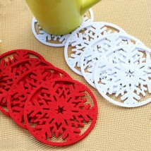 Merry Christmas Decorations Snowflakes Cup Pad Mat Non-Woven Fabric Dinn... - $44,35 MXN+