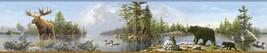 Moose Black Bear Duck Lake Wallpaper Border Chesapeake Wallcovering HTM4... - $20.78
