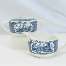 Currier and Ives Creamer and Sugar Bowl with Lid - $19.59