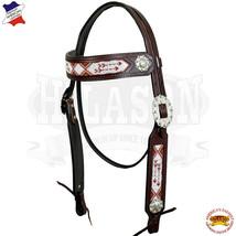 Hilason Western Horse Headstall Bridle American Leather Bling Concho U-3-HS - $59.35