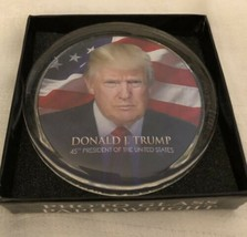 TRUMP MAGA PAPERWEIGHT GLASS w PHOTO DONALD J & USA FLAG in BOX GREAT GIFT - $12.08