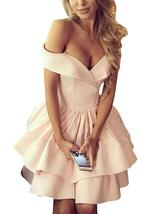 A Line Satin Short Homecoming Dress Off Shoulder Party Prom Gown Ruched ... - $99.99