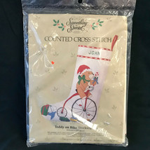 Something Special Teddy on Bike Stocking 50174 Counted Cross Stitch NIP - $18.99