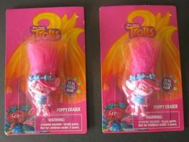 "Lot Of 2 Poppy Pink Cute Trolls 3"" Eraser W/Pink Hair By Dreamworks Pkg ... - $6.92"