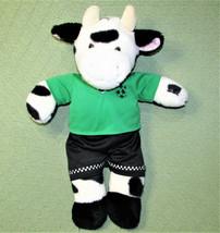 "Build A Bear SOCCER COW 19"" Plush Stuffed Animal Green Black Uniform Spo... - $18.70"