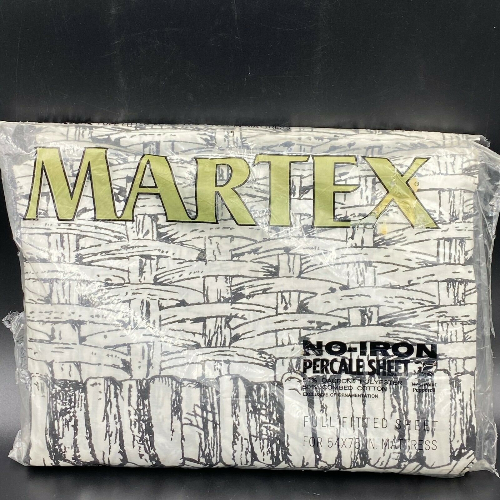 Primary image for Vintage Martex Sheet Black White Full Fitted Basketweave Basket New OPEN PKG K1