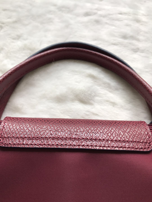 Longchamp Club Collection Horse Embroidery ShortHandle Medium Handbag Garnet Red