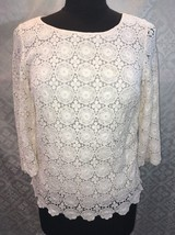 Talbots Womens 6P Lace Shirt Cream Blouse Ivory 6 Petite Crocheted Crochet - $27.88