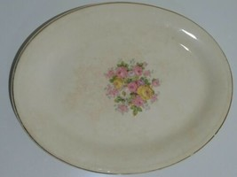RARE Vintage Semi Vitreous Edwin Knowles Pink & Yellow Roses Platter》Gol... - £21.35 GBP