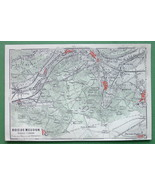 1913 MAP ORIGINAL Baedeker - FRANCE Paris Bois de Meudon - $3.38
