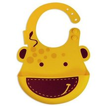 Pinafore for Baby, Durable Giraffe Cartoon Button Silicone Baby Bibs image 2