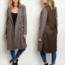 Brown Long Jacket Trench Coat with Pockets Sz Small - $45.00