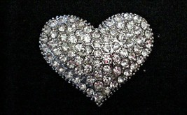 Vintage Heart Shape Rhinestone Filled Brooch Pin - $29.95