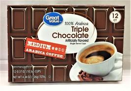 Great Value Triple Chocolate Medium Roast Coffee K Cup Cups 12 pods - $7.91