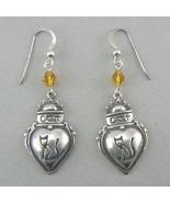 Cat n Heart Sterling Silver Dangle Earrings w/ Topaz Crystals - $19.95