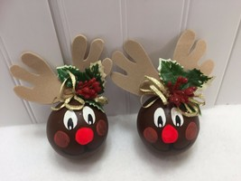 2 Handpainted Reindeer Ornaments Ball Hand Painted 22427 - $14.84