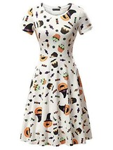 FENSACE Womens Short Sleeve Halloween Spider Candy Pumpkin Dress - $26.88