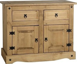 Solid Wood Sideboard Pine Mexican Shelves Storage Cupboard w/ Drawers Na... - $180.26