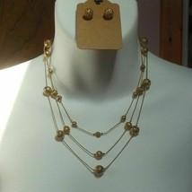 Avon Triple-Strand Filigree Gold-tone Ball Necklace & Earring Set - $20.99