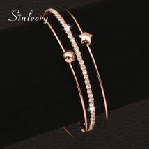 SINLEERY Simple 3 Layer Bracelet Set Rose Gold Color Women 2017 New Fash... - $16.48