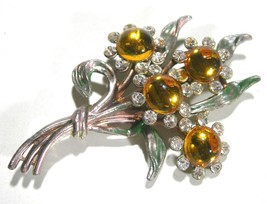 VINTAGE ANTIQUE SIGNED YELLOW GLASS RHINESTONE ENAMEL BROOCH PIN SIGNED ... - $95.00
