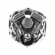 Men's Stainless Steel Black Oxidized Ring w/ Large Engine Look Mounted o... - $28.47