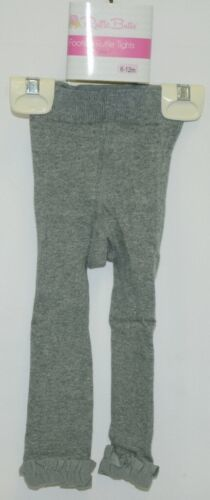 RuffleButts RLKCL060000 Charcoal Footless Ruffle Tights Size 6 to 12 Months
