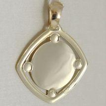 Pendant Yellow Gold Medal 375 9k, Maria Jesus, Diamond, Satin, Made in Italy image 3