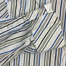 Tasso Elba Button Up Shirt Mens 2XL White Blue Green Long Sleeve Striped... - $18.95