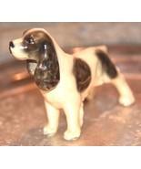 VINTAGE ANTIQUE SPANIEL DOG FIGURINE JAPAN BLACK WHITE SPOTS HAND PAINTE... - $29.99