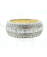 Roman Signed .925 Sterling Silver Gold Vermeil Diamond Chip Band Vintage... - $39.59