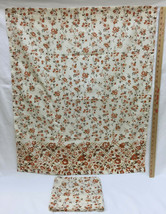 "Pair Fabric Curtain Panels Retro Floral Ivory & Brown Flower 35"" L x 30""... - $9.85"