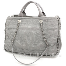 CHANEL Chain Shoulder Bag Cotton Canvas Gray Tote Bag Fringe  Authentic ... - $2,389.18