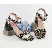 Betsey Johnson Deena Gold Leopard Ankle Strap Chunky Block Heels 7.5 NIB - $68.81