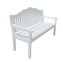Garden Bench 3 Seater Eucalyptus Wood Balcony Patio Porch Furniture Whit... - $540.62