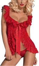 Sexy Open Front Lingerie Lace Mesh Babydoll Lingerie with G-String for Women image 7