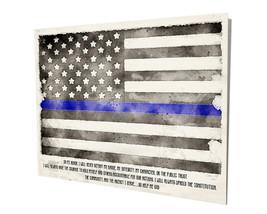 Police Sheriff Thin Blue Line Oath of Office Flag Design 16x20 Aluminum Wall Art - $59.35