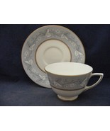 Royal Doulton Qeensbury Bone China Cup & Saucer Set Blue White Leaves - $18.00