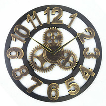 Wall Clock Roman Gold Hollow Design Retro Colors Carry Beautiful Old Tim... - $38.98
